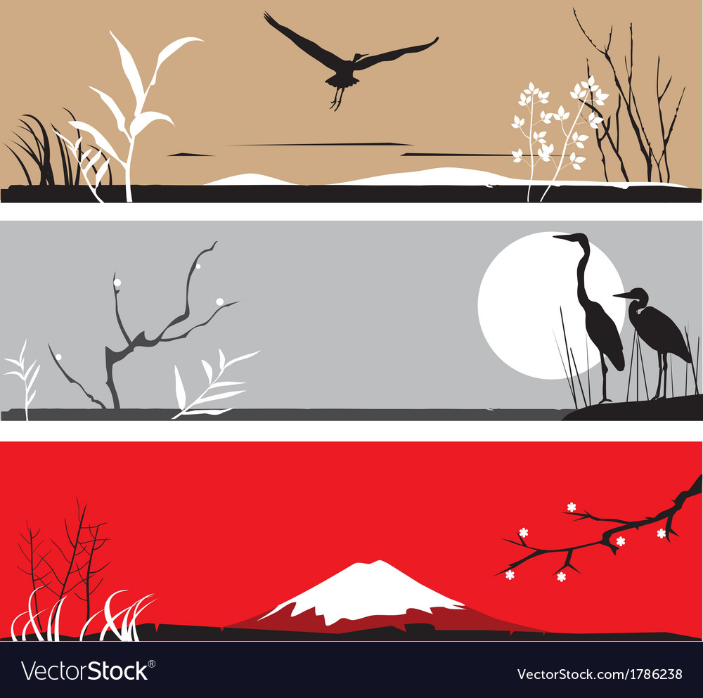 Heron banners vector | Price: 1 Credit (USD $1)