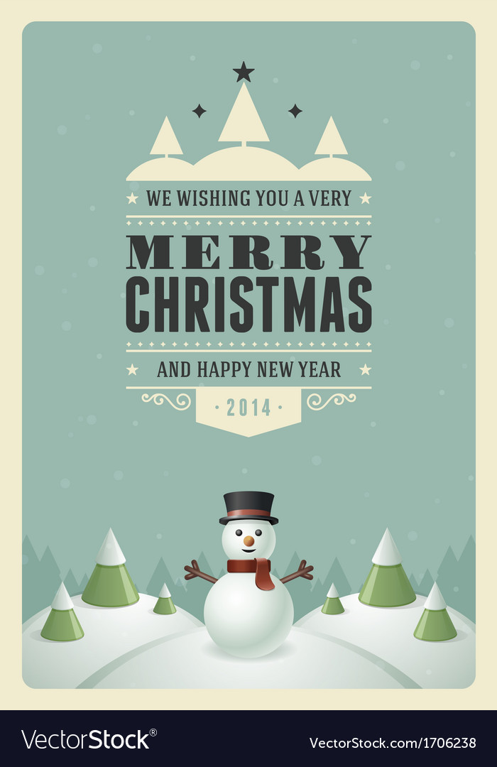 Merry christmas postcard with snowman background vector | Price: 1 Credit (USD $1)