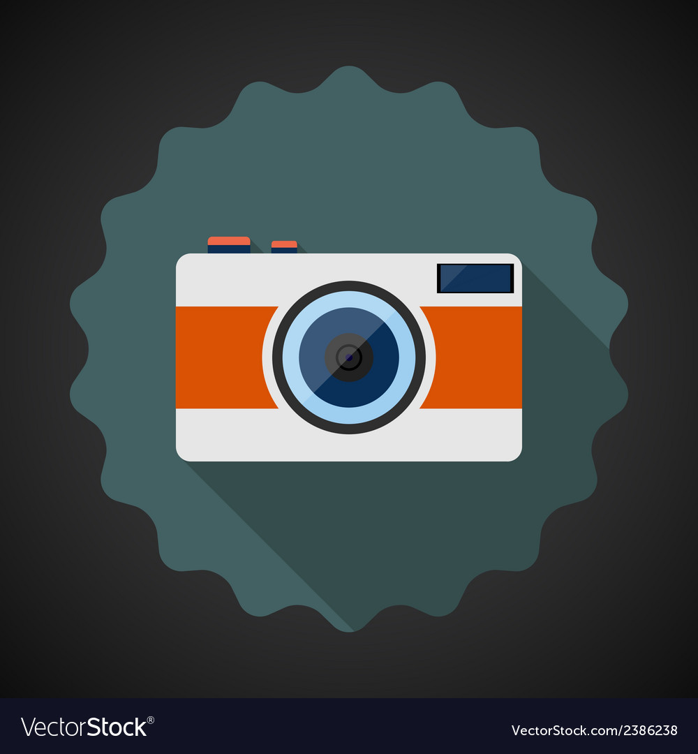 Old retro camera flat icon with long shadow vector | Price: 1 Credit (USD $1)