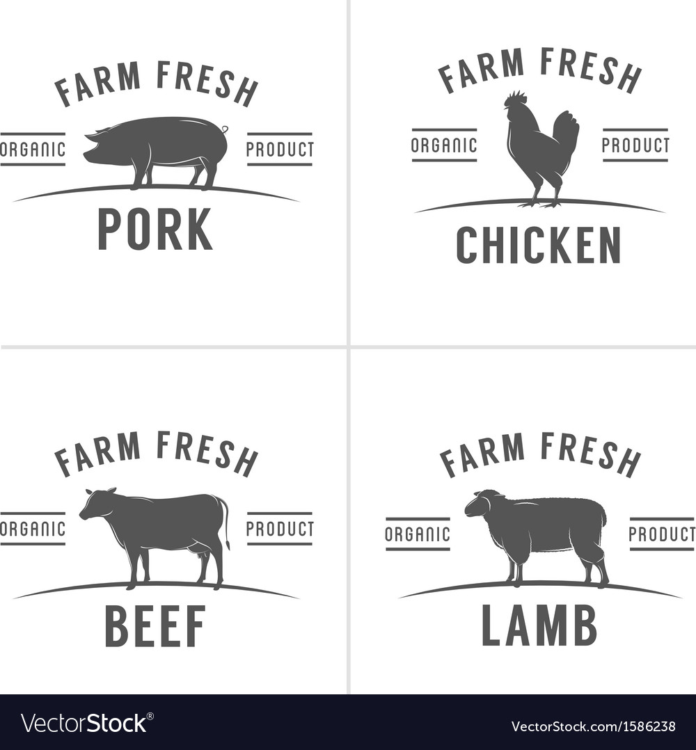 Set of vintage butchery meat stamps and labels vector