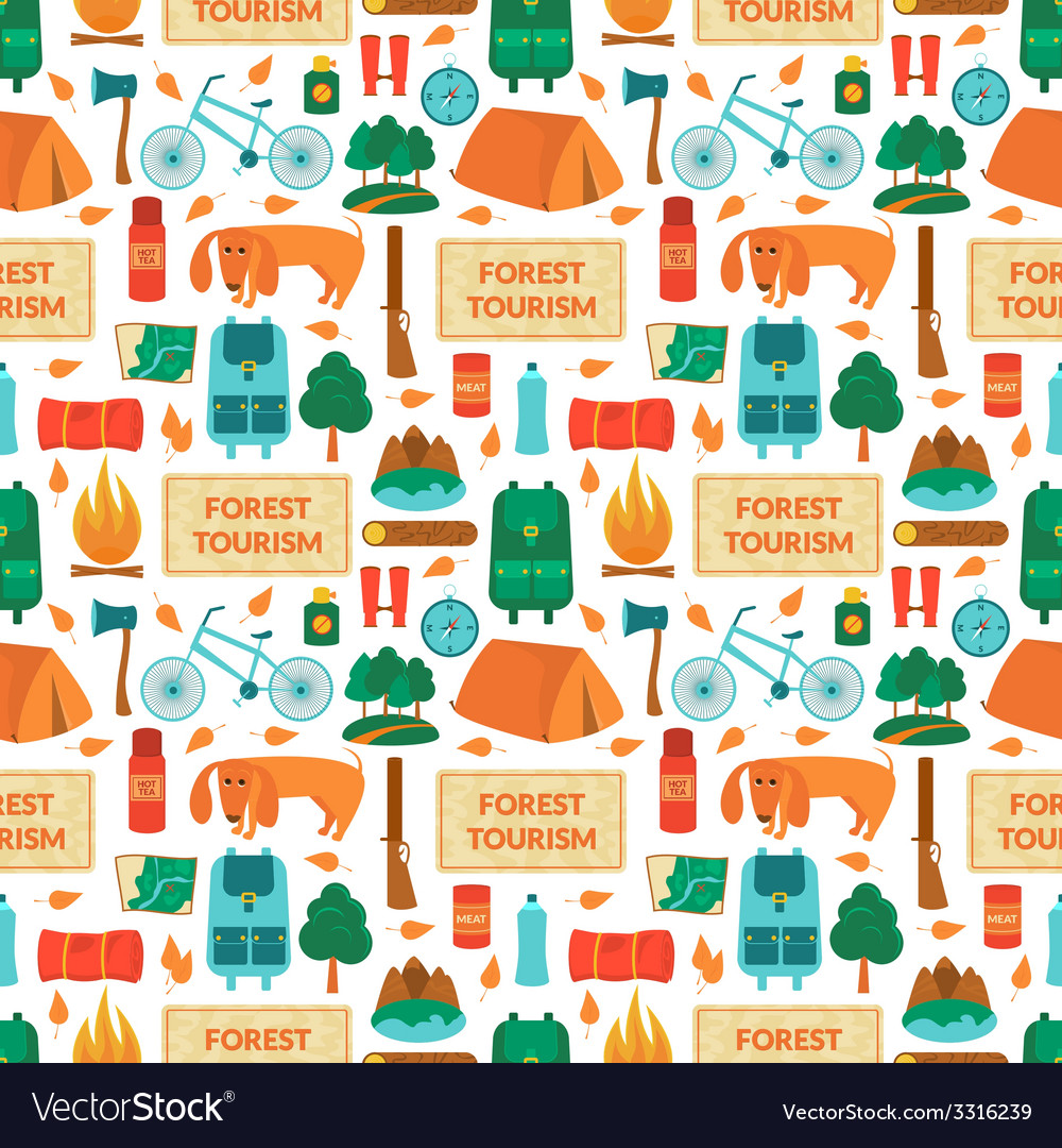 Camping equipment seamless pattern vector   Price: 1 Credit (USD $1)