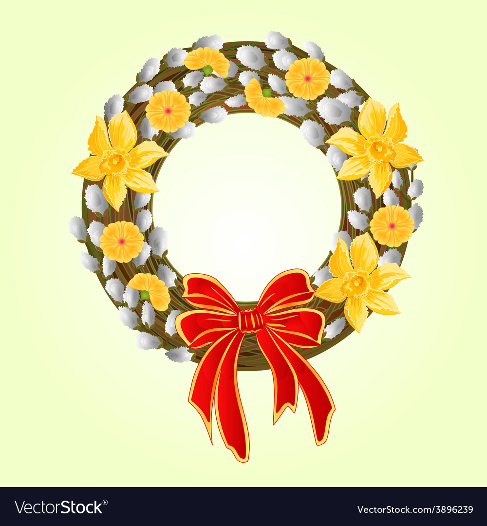 Easter wreath with pussy willow and daffodil vector | Price: 1 Credit (USD $1)