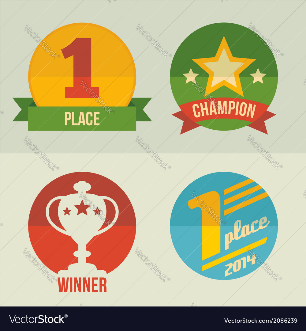 First place icons set flat design vector | Price: 1 Credit (USD $1)