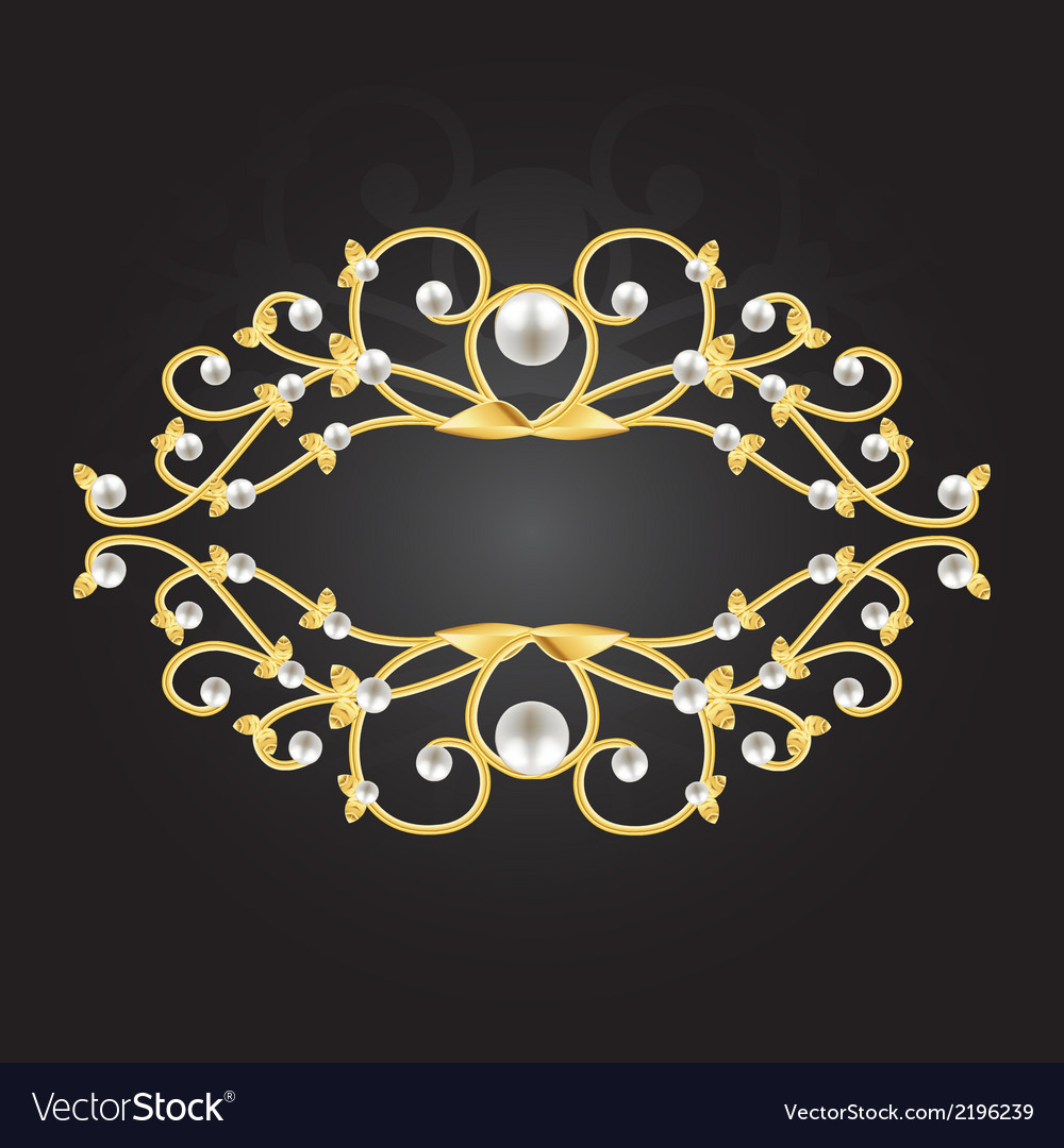 Golden pearl frame vector | Price: 1 Credit (USD $1)