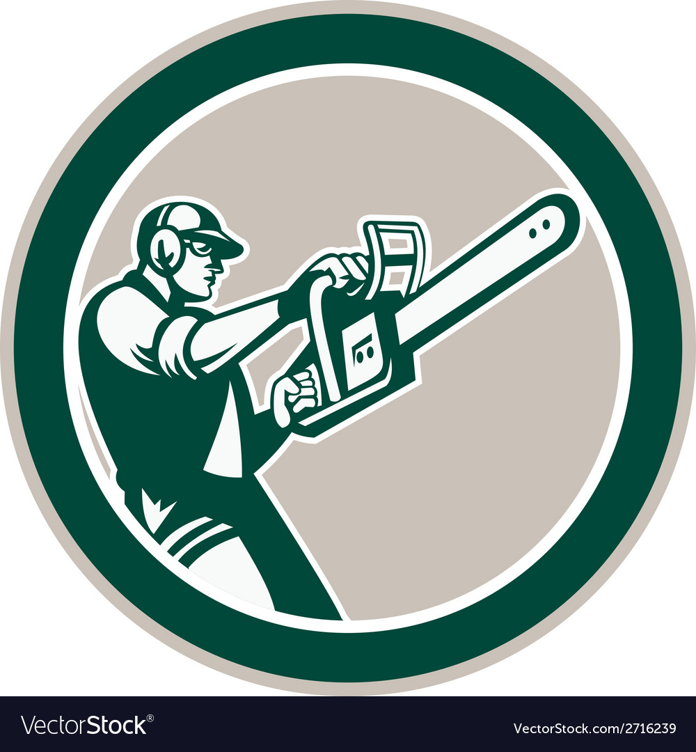 Lumberjack tree trimmer arborist chainsaw circle vector | Price: 1 Credit (USD $1)
