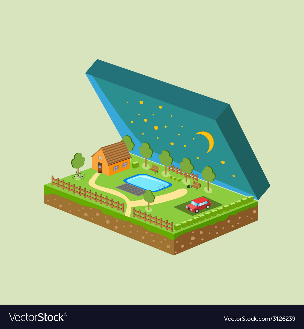 Piece of land and sky with objects vector   Price: 1 Credit (USD $1)