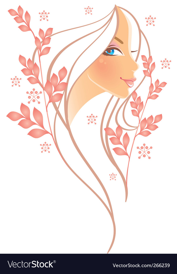 Women profile leaf vector | Price: 3 Credit (USD $3)