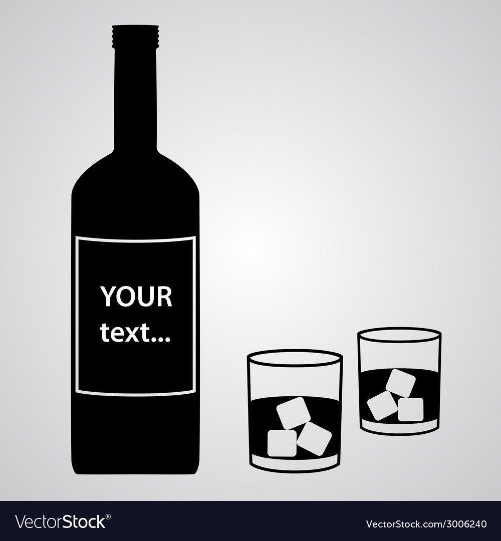 Alcohol bottle and two black glasses eps10 vector | Price: 1 Credit (USD $1)