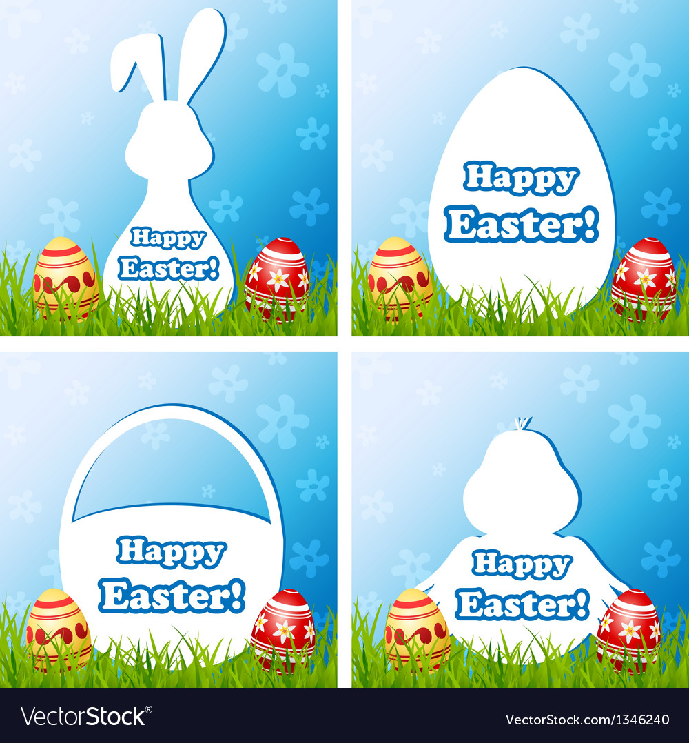 Easter card set with different silhouette text box vector | Price: 1 Credit (USD $1)