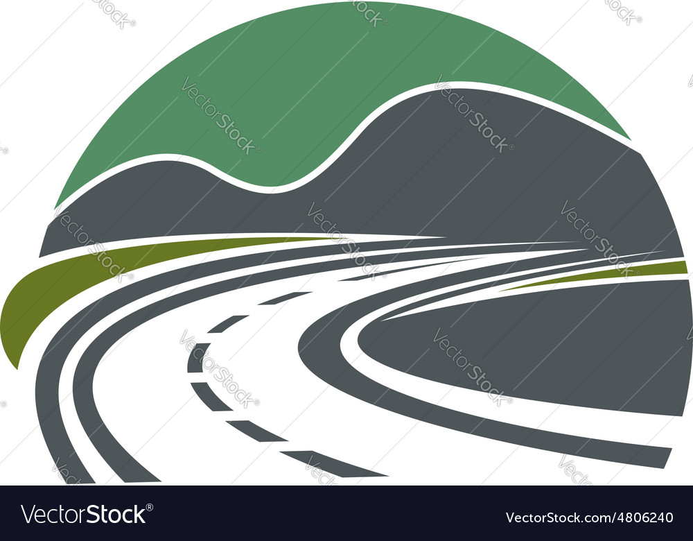 Highway or road disappearing near mountains vector