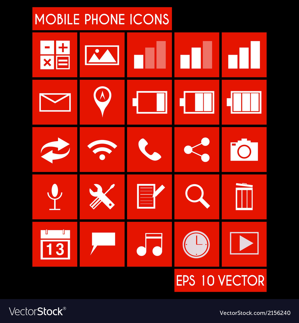 Mobile phone icon set vector | Price: 1 Credit (USD $1)