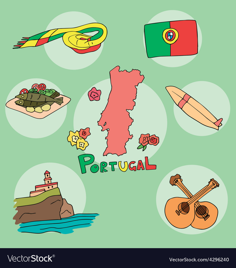 Set of national profile of the portugal vector | Price: 1 Credit (USD $1)