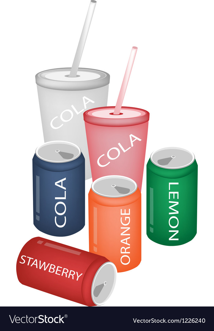 Set of refreshing soda drinks in various packaging vector | Price: 3 Credit (USD $3)