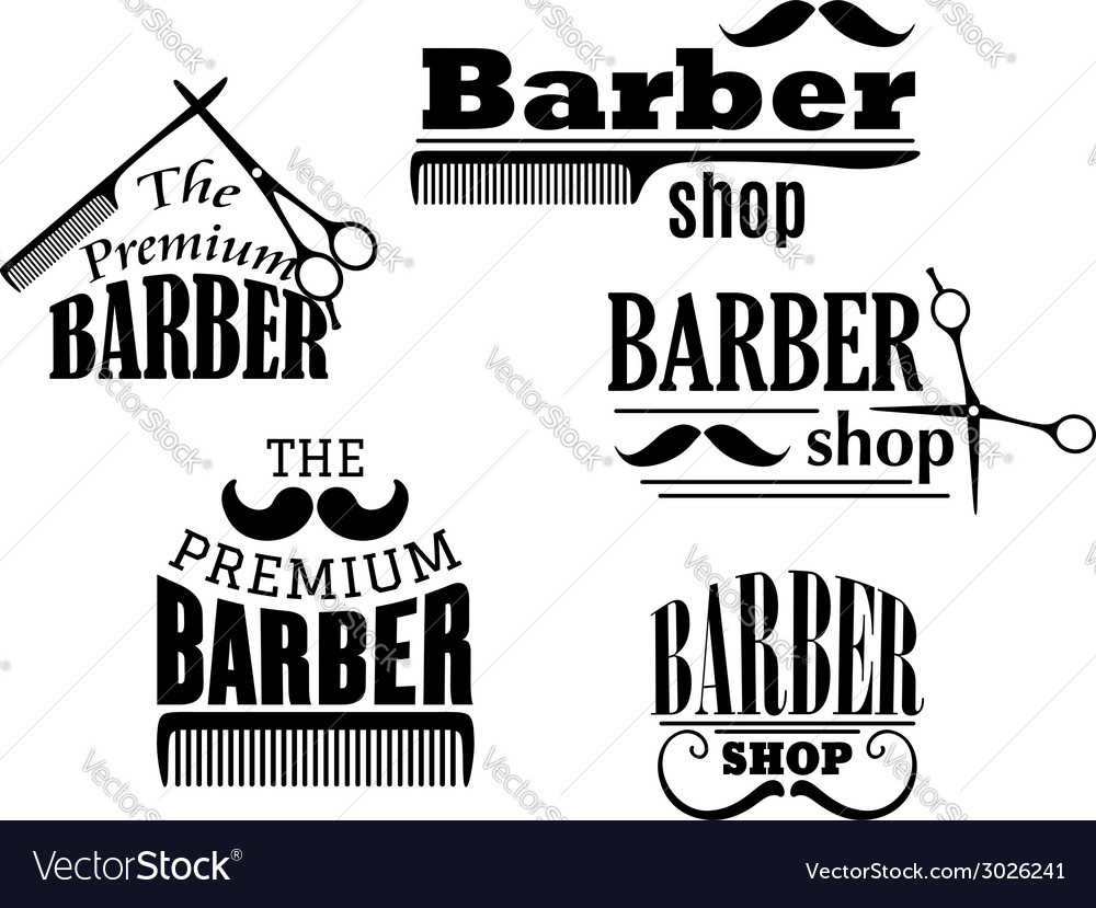 Black retro barber shop icons vector | Price: 1 Credit (USD $1)