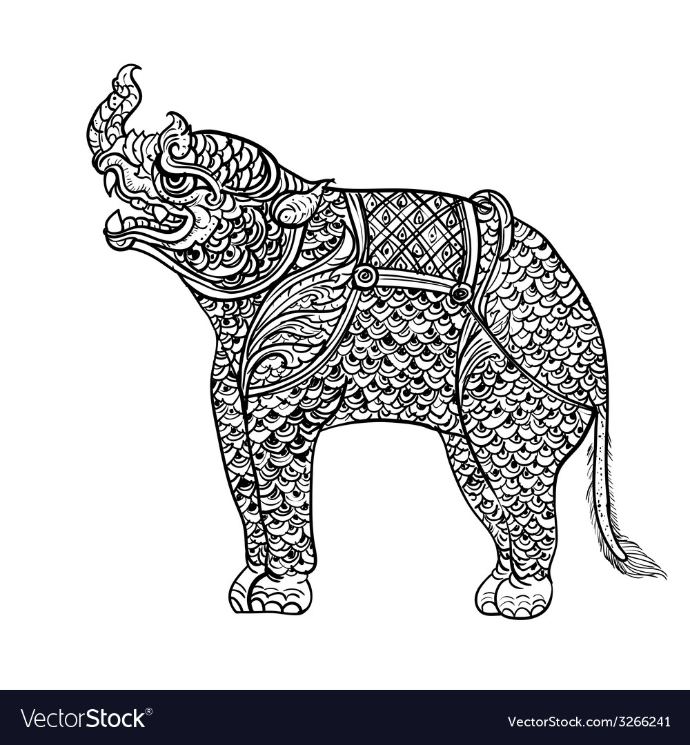 Drawing of rhinocerosthai traditional art vector | Price: 1 Credit (USD $1)