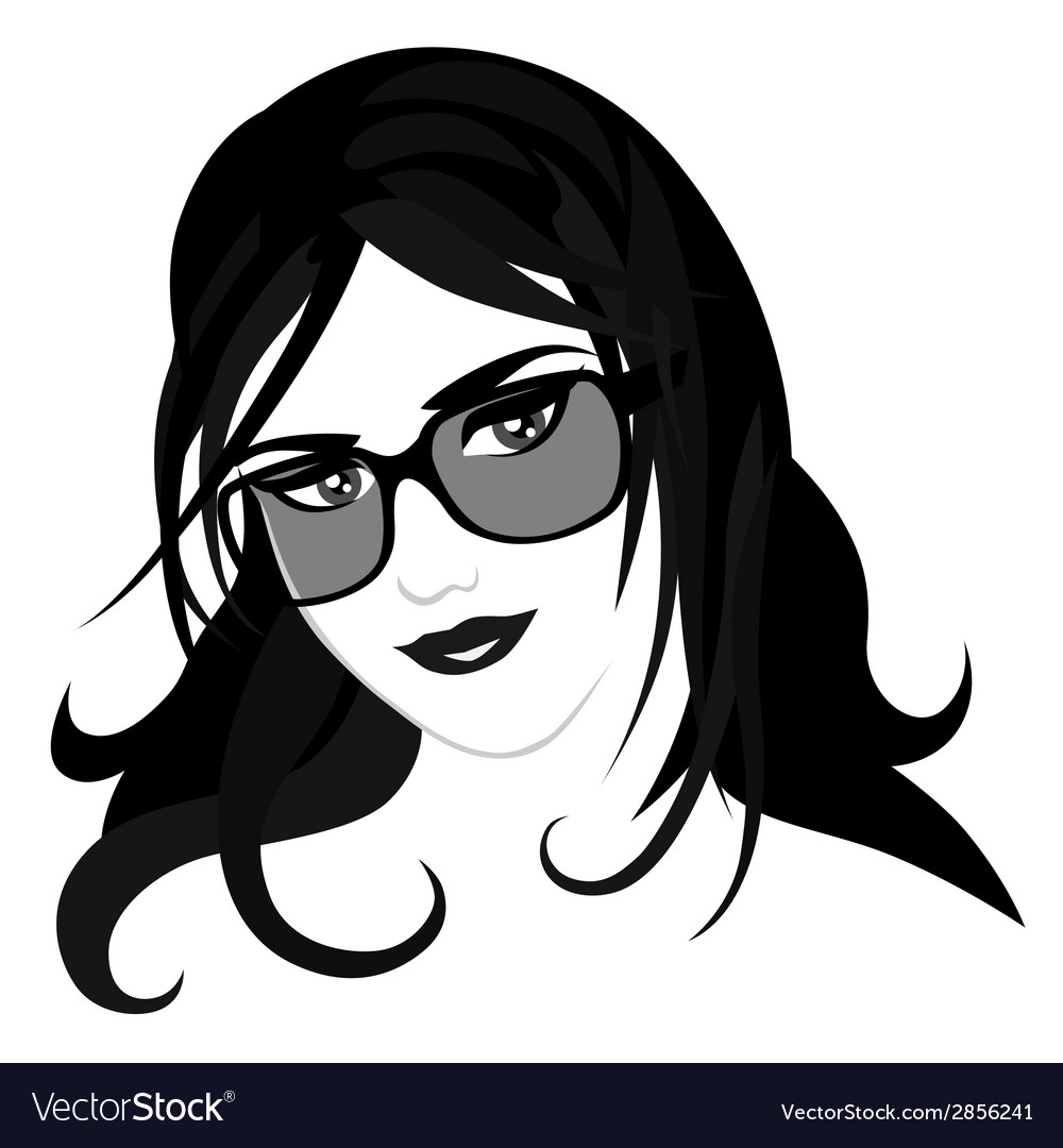 Girl with glasses vector | Price: 1 Credit (USD $1)