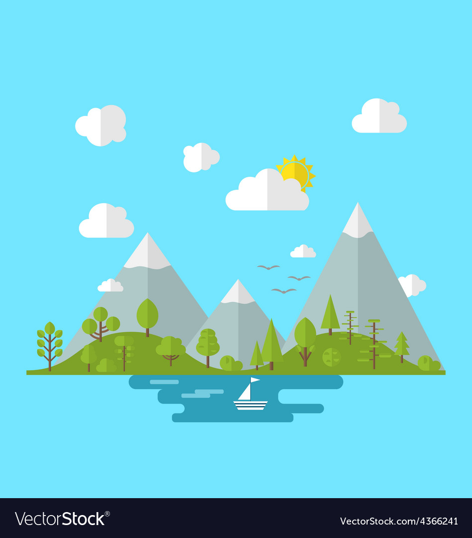 Landscape woods valley hill forest land nature vector | Price: 1 Credit (USD $1)