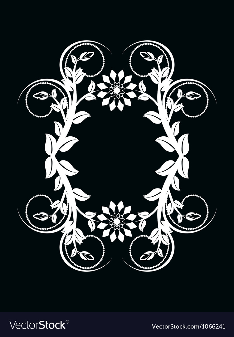 Number zero made with floral ornament on black bac vector | Price: 1 Credit (USD $1)