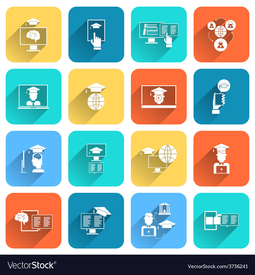 Online education icons flat vector | Price: 1 Credit (USD $1)
