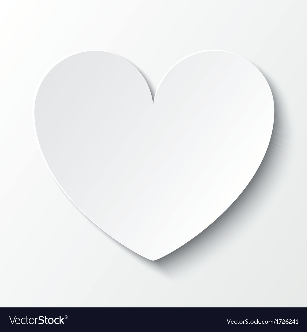 Paper heart valentines day card on white vector | Price: 1 Credit (USD $1)