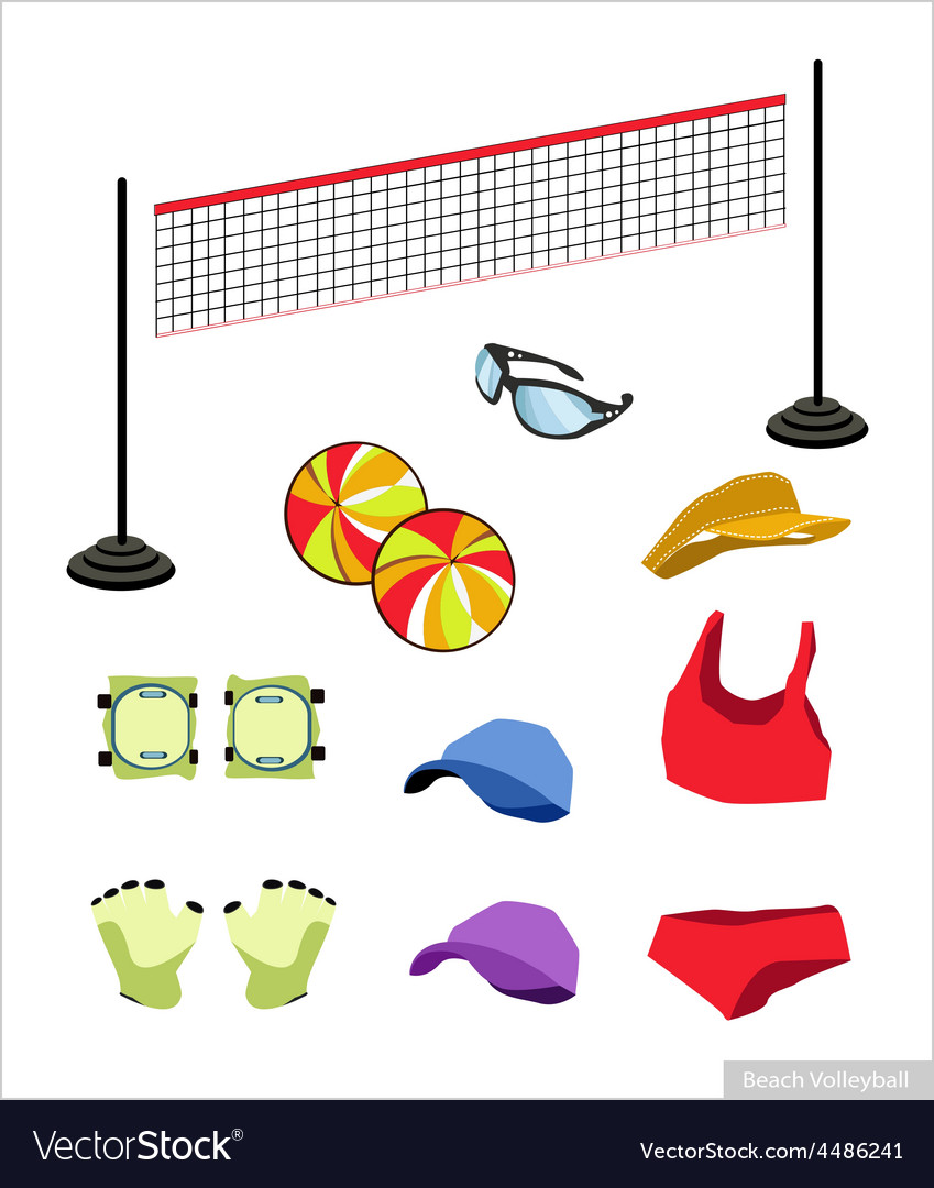 Set of beach volleyball equipment on white vector | Price: 1 Credit (USD $1)