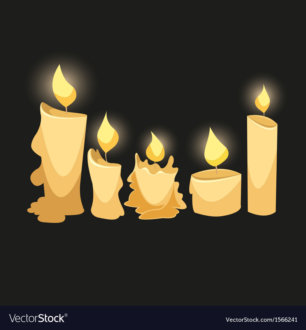 Set of candles isolated on a black backgrounds vector | Price: 1 Credit (USD $1)
