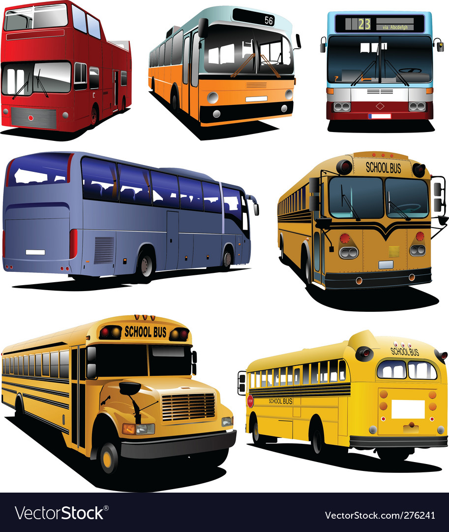 Seven buses vector | Price: 1 Credit (USD $1)