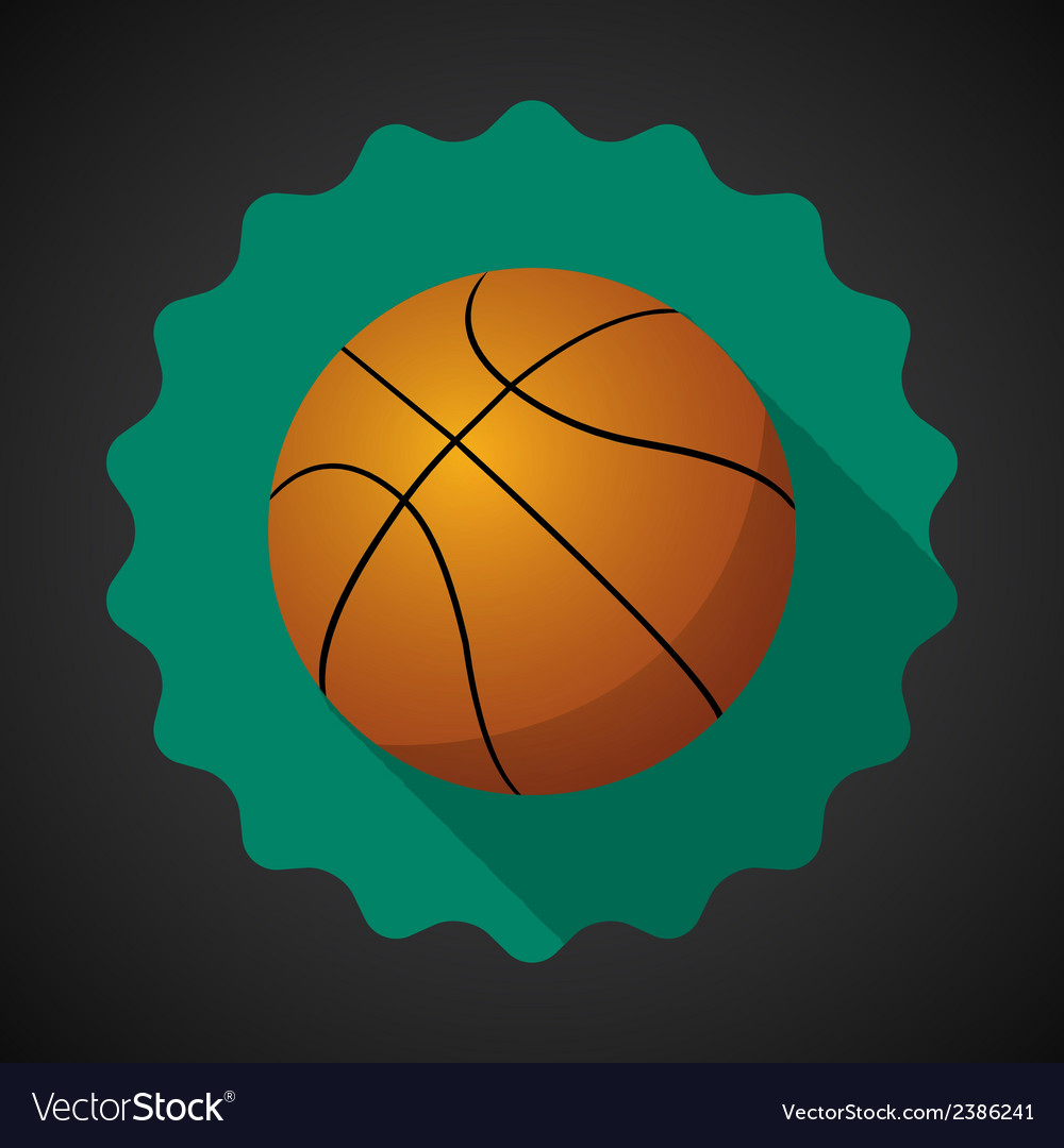 Sport ball basketball flat icon background vector | Price: 1 Credit (USD $1)