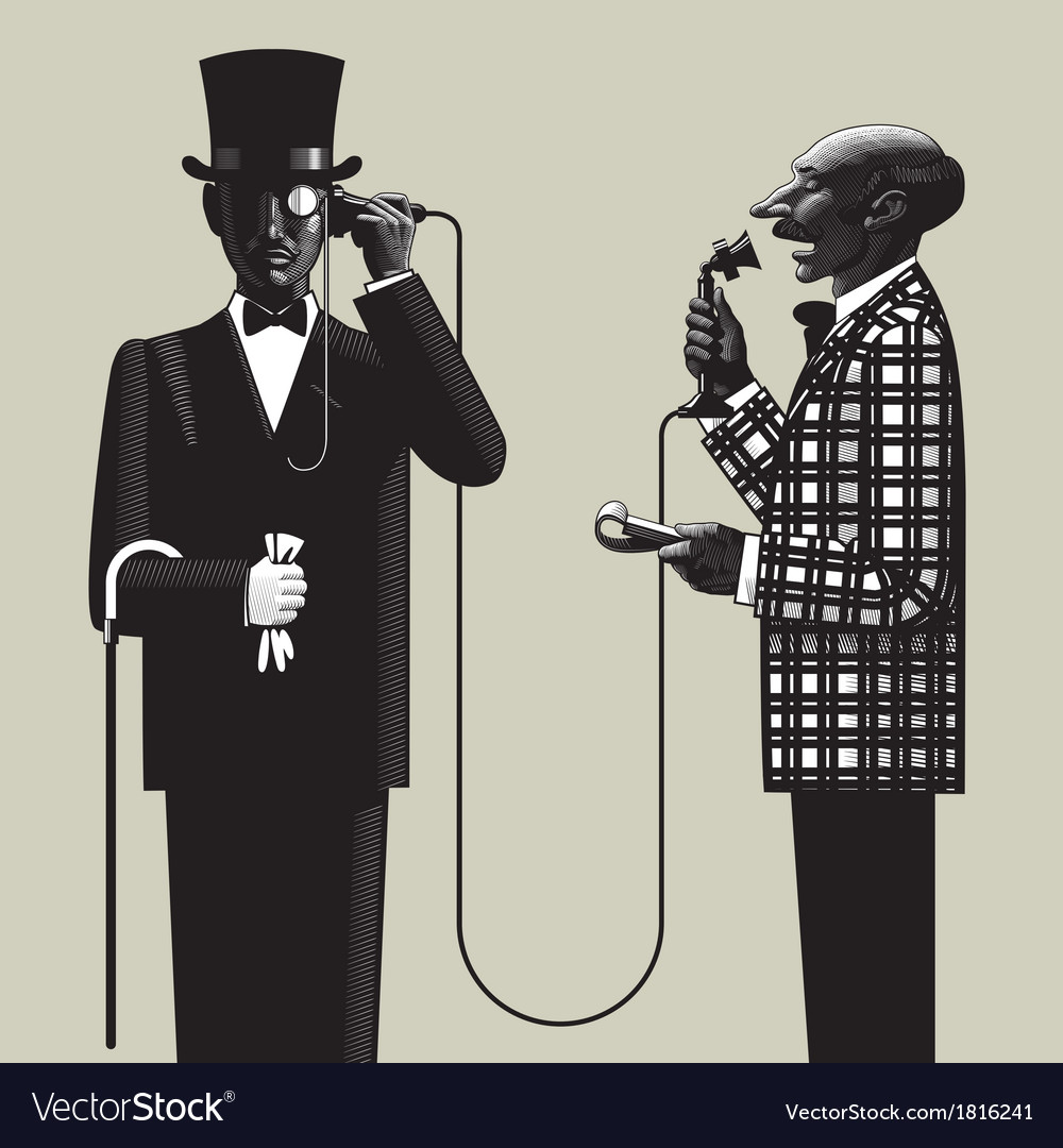 Two men with a phone vector