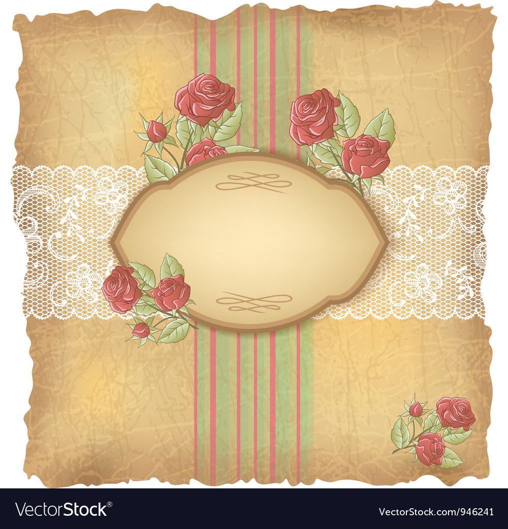 Vintage roses lace background vector | Price: 1 Credit (USD $1)