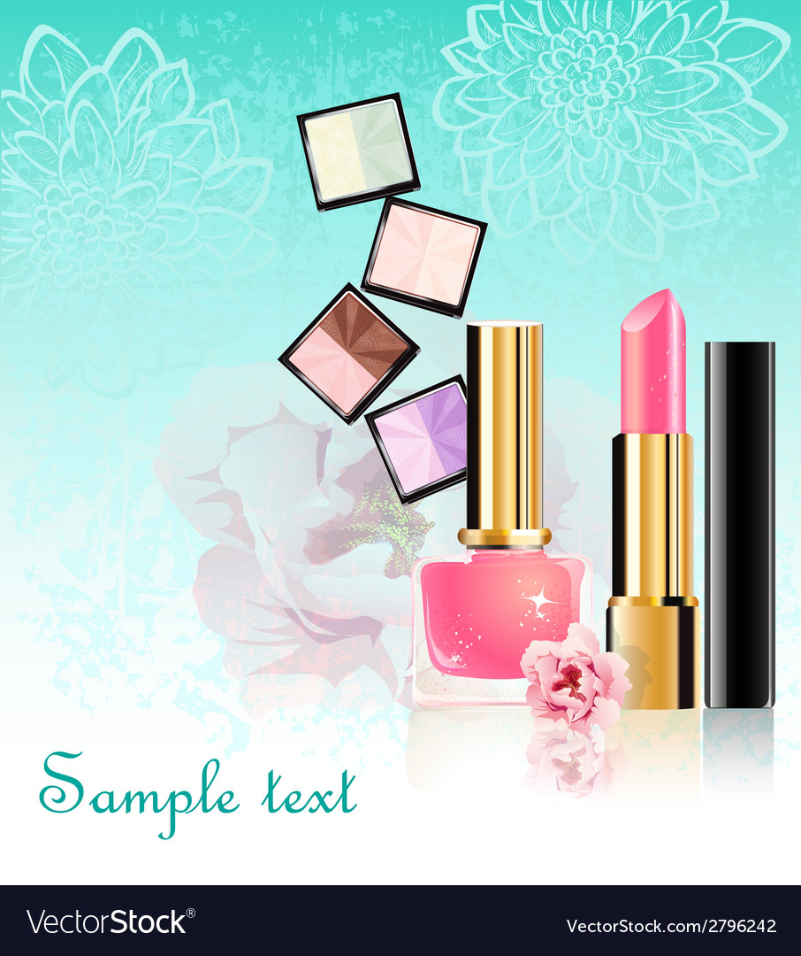 Cosmetics set with flowers vector | Price: 1 Credit (USD $1)