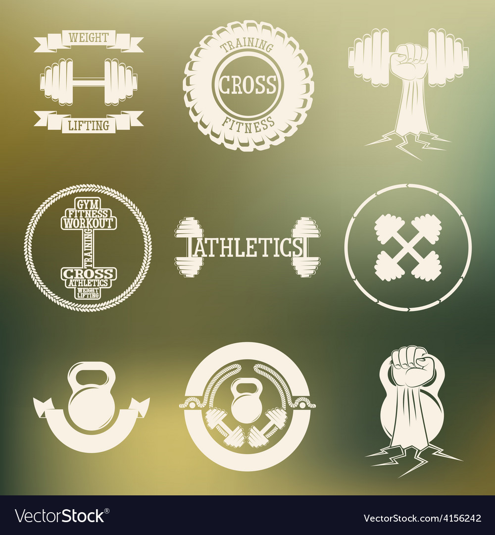 Cross training and gym logo white vector   Price: 1 Credit (USD $1)