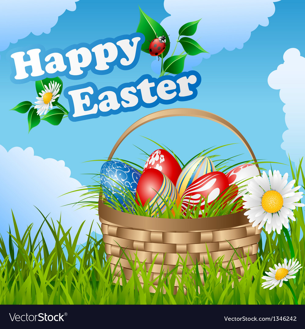 Easter card with basket and eggs vector | Price: 1 Credit (USD $1)