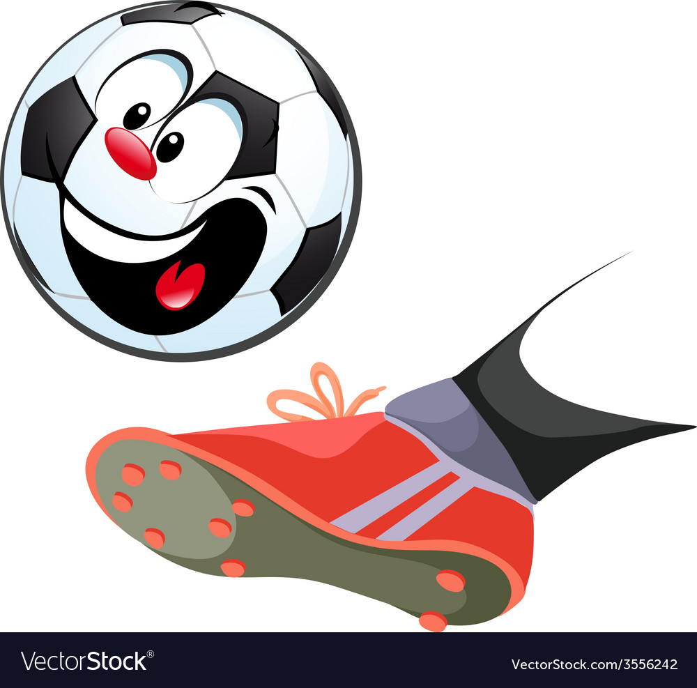 Foot kicking funny soccer ball isolated - vector | Price: 1 Credit (USD $1)