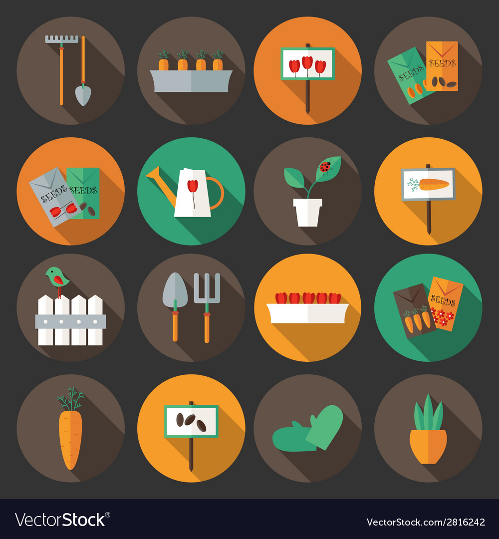 Gardening set flat icons over dark background vector | Price: 1 Credit (USD $1)