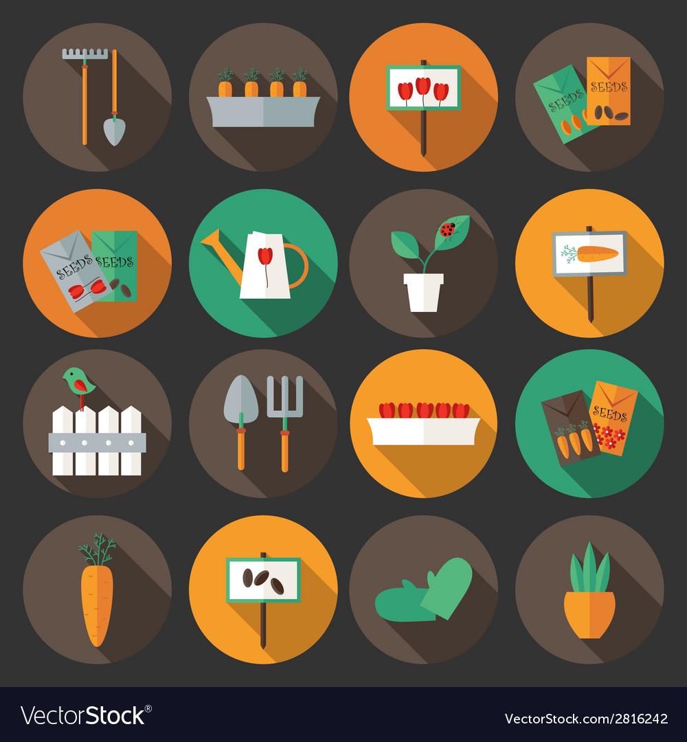 Gardening set flat icons over dark background vector   Price: 1 Credit (USD $1)