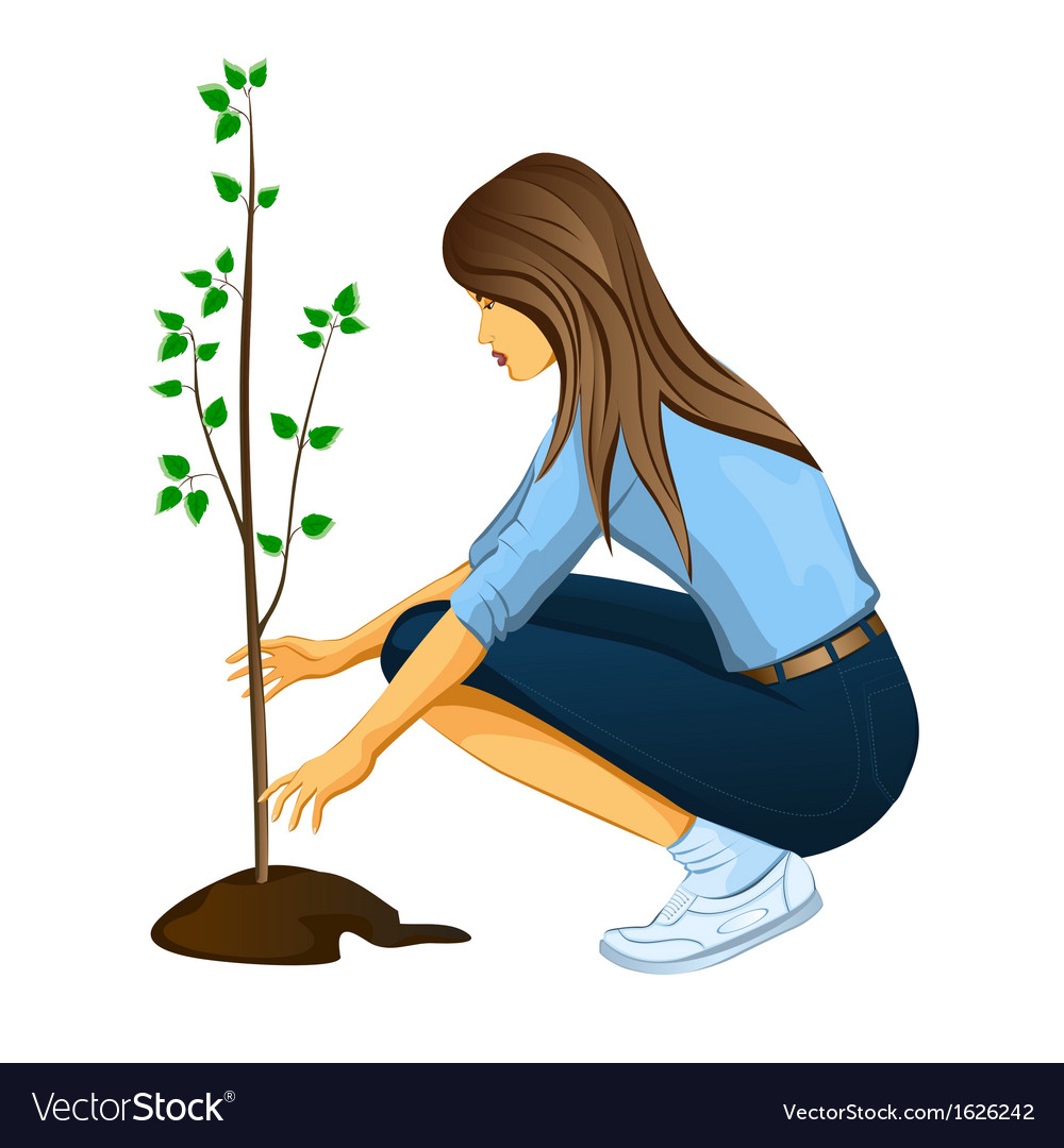 Girl planting a tree vector | Price: 1 Credit (USD $1)
