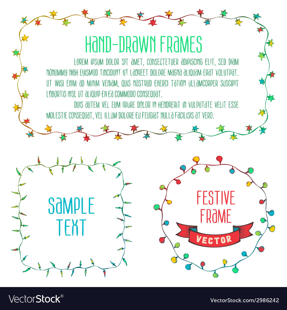 Hand drawn garland frames vector | Price: 1 Credit (USD $1)