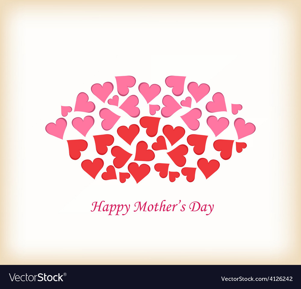 Lips made of hearts mothers day vector | Price: 1 Credit (USD $1)
