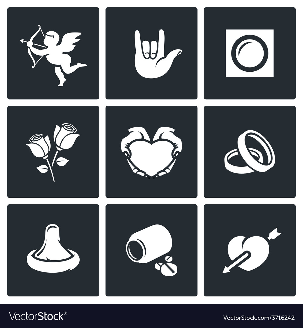 Love and romance icons set vector | Price: 1 Credit (USD $1)