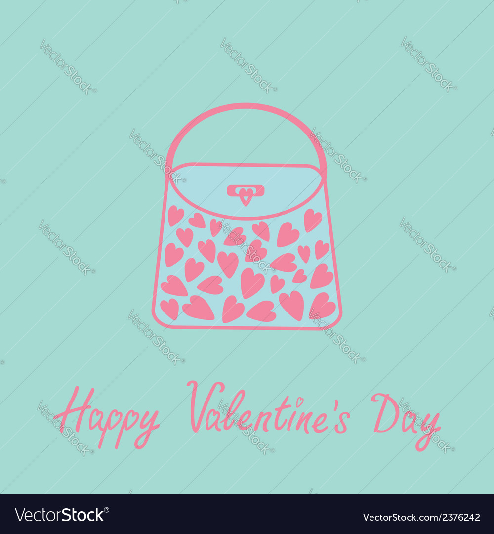 Love bag with hearts love card blue and pink flat vector | Price: 1 Credit (USD $1)