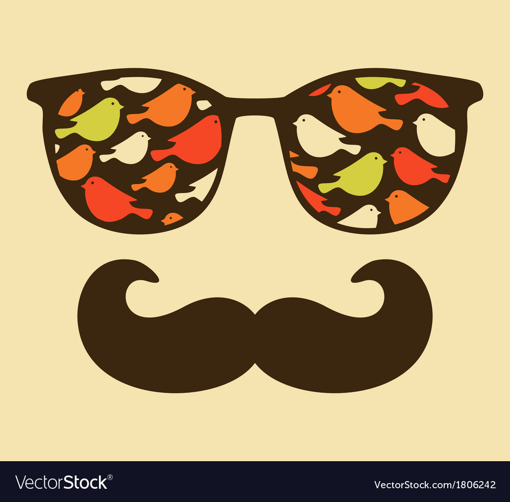 Retro sunglasses with reflection for hipster vector   Price: 1 Credit (USD $1)