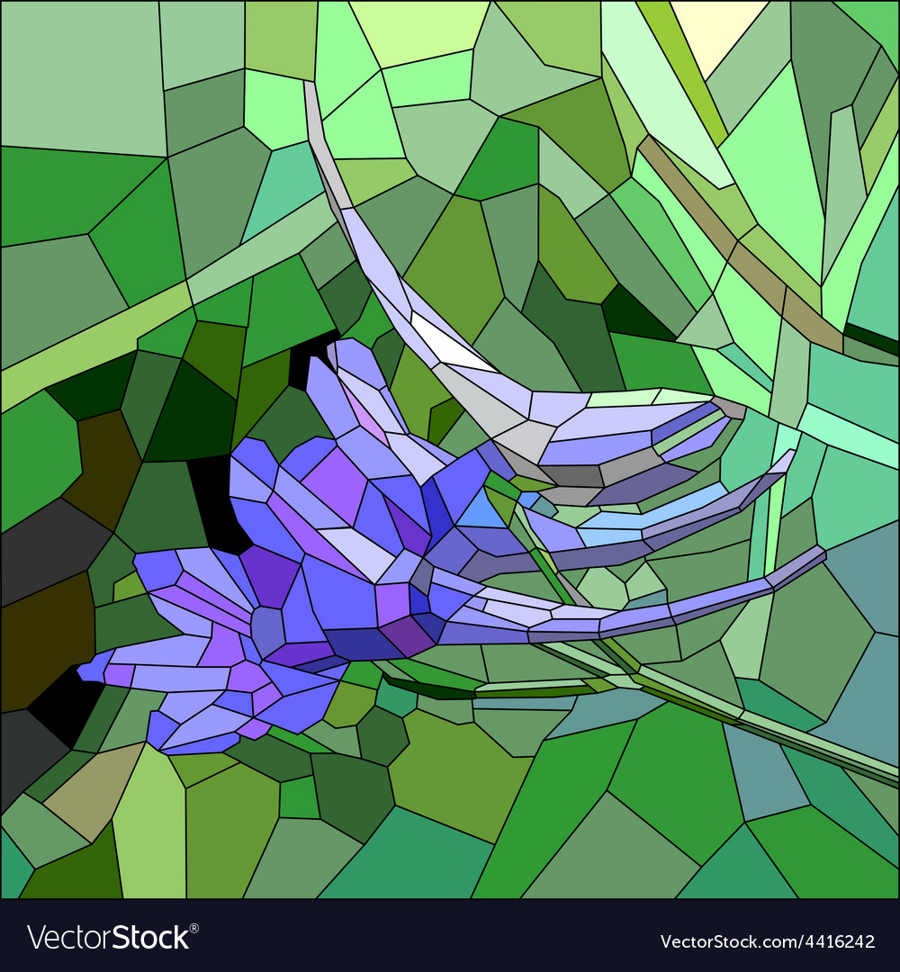 Stained glass with blue and lilac flower vector | Price: 1 Credit (USD $1)