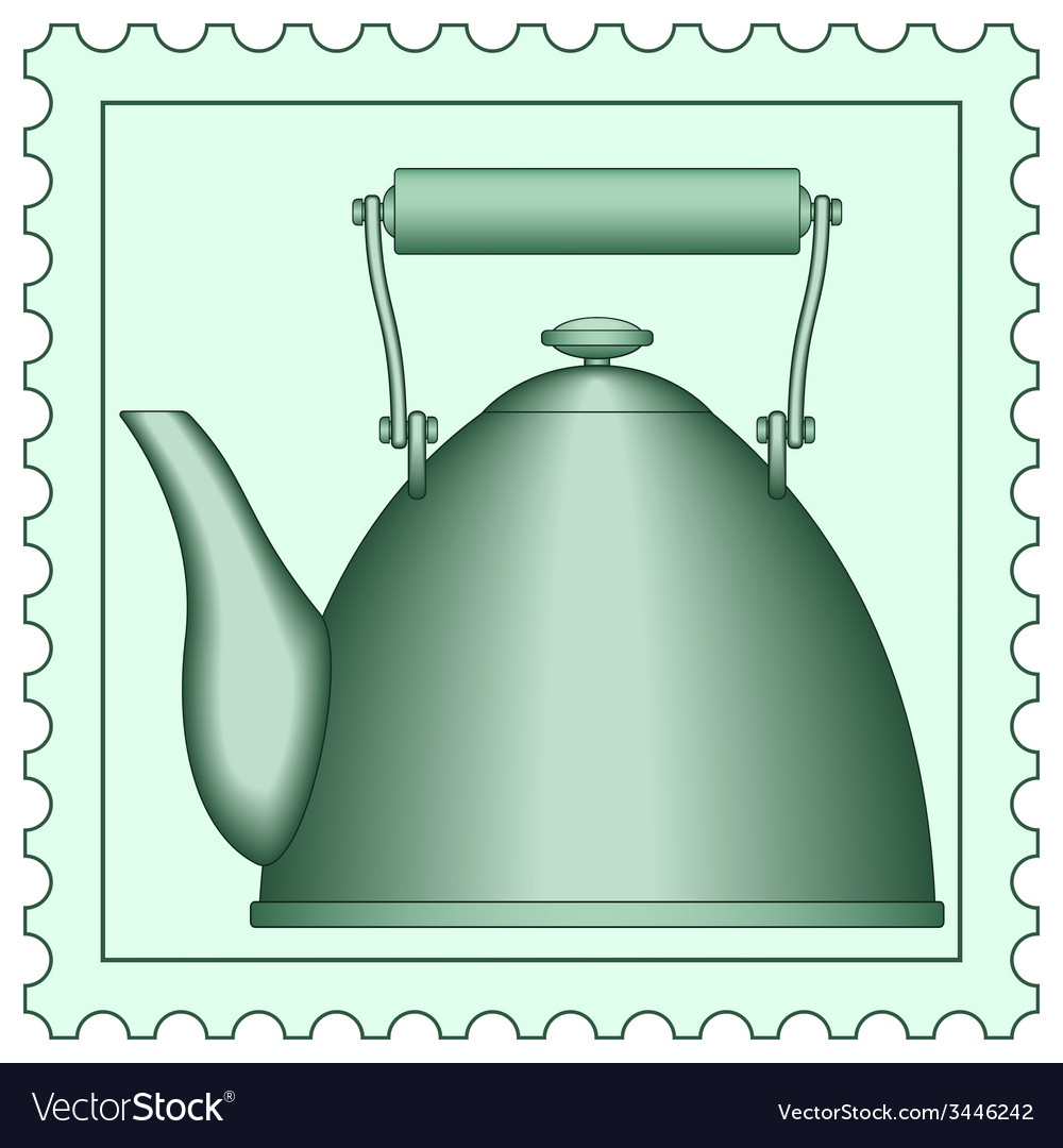 Teapot on stamp vector | Price: 1 Credit (USD $1)