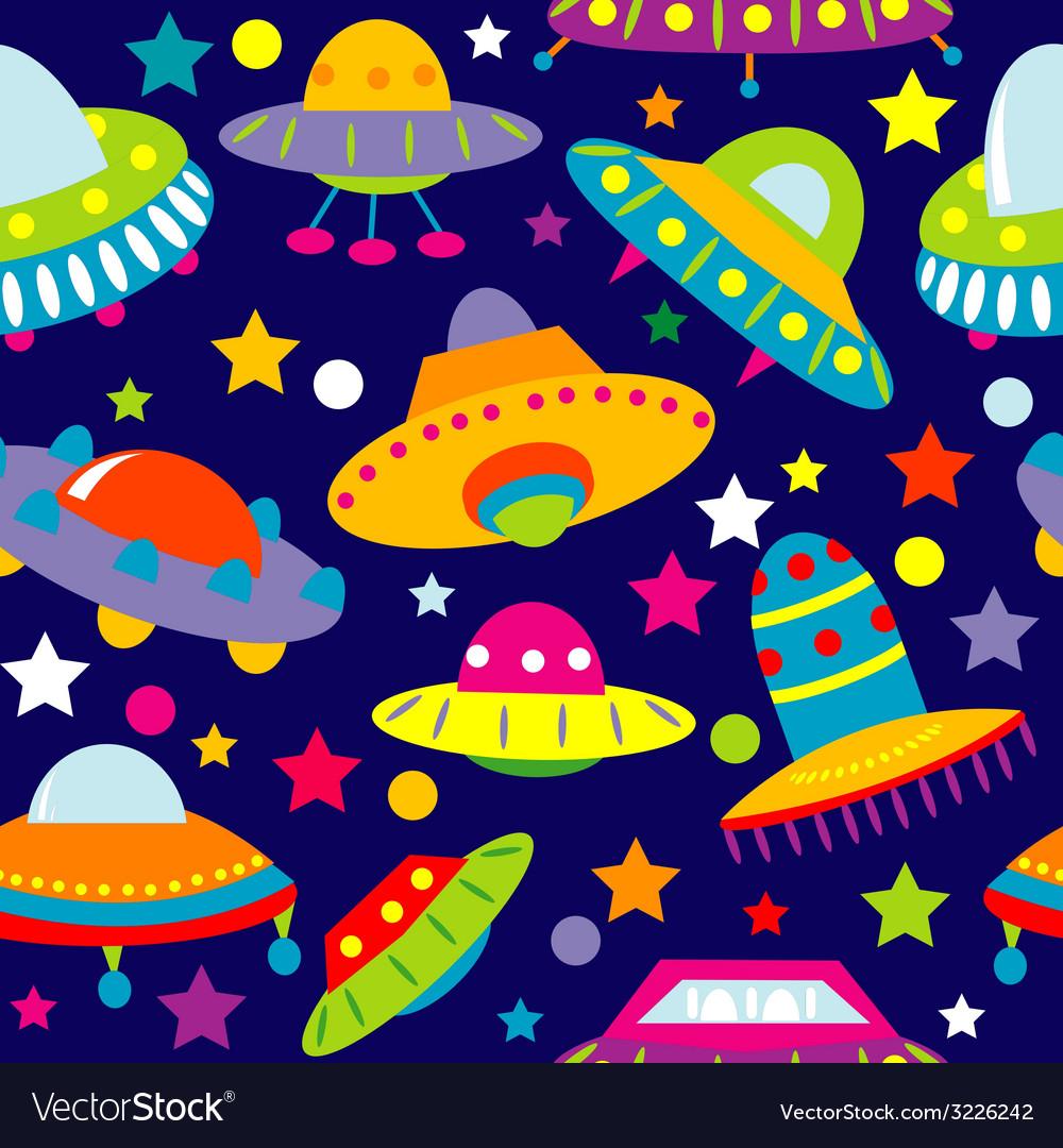 Ufo cartoon seamless vector | Price: 1 Credit (USD $1)