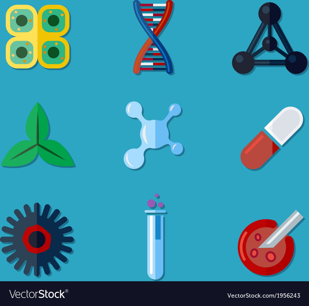 Biotechnology icons flat vector | Price: 1 Credit (USD $1)