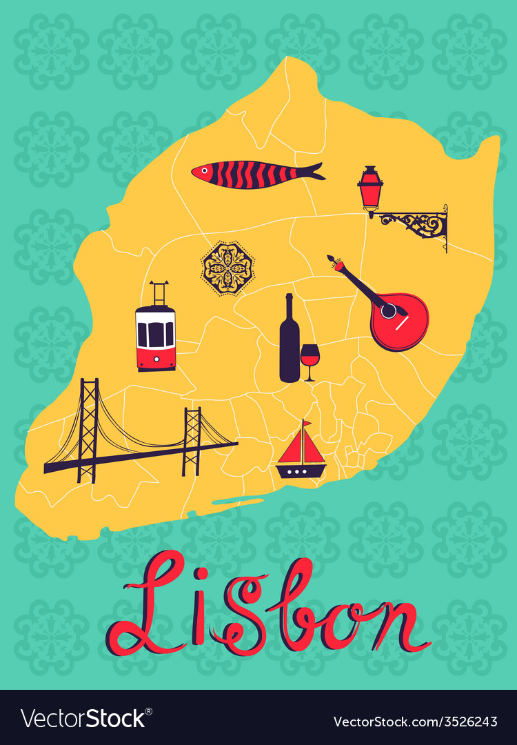Colorful stylized map of lisbon with tipical icons vector | Price: 1 Credit (USD $1)