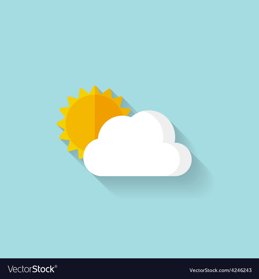 Flat sun and cloud weather web icon vector | Price: 1 Credit (USD $1)