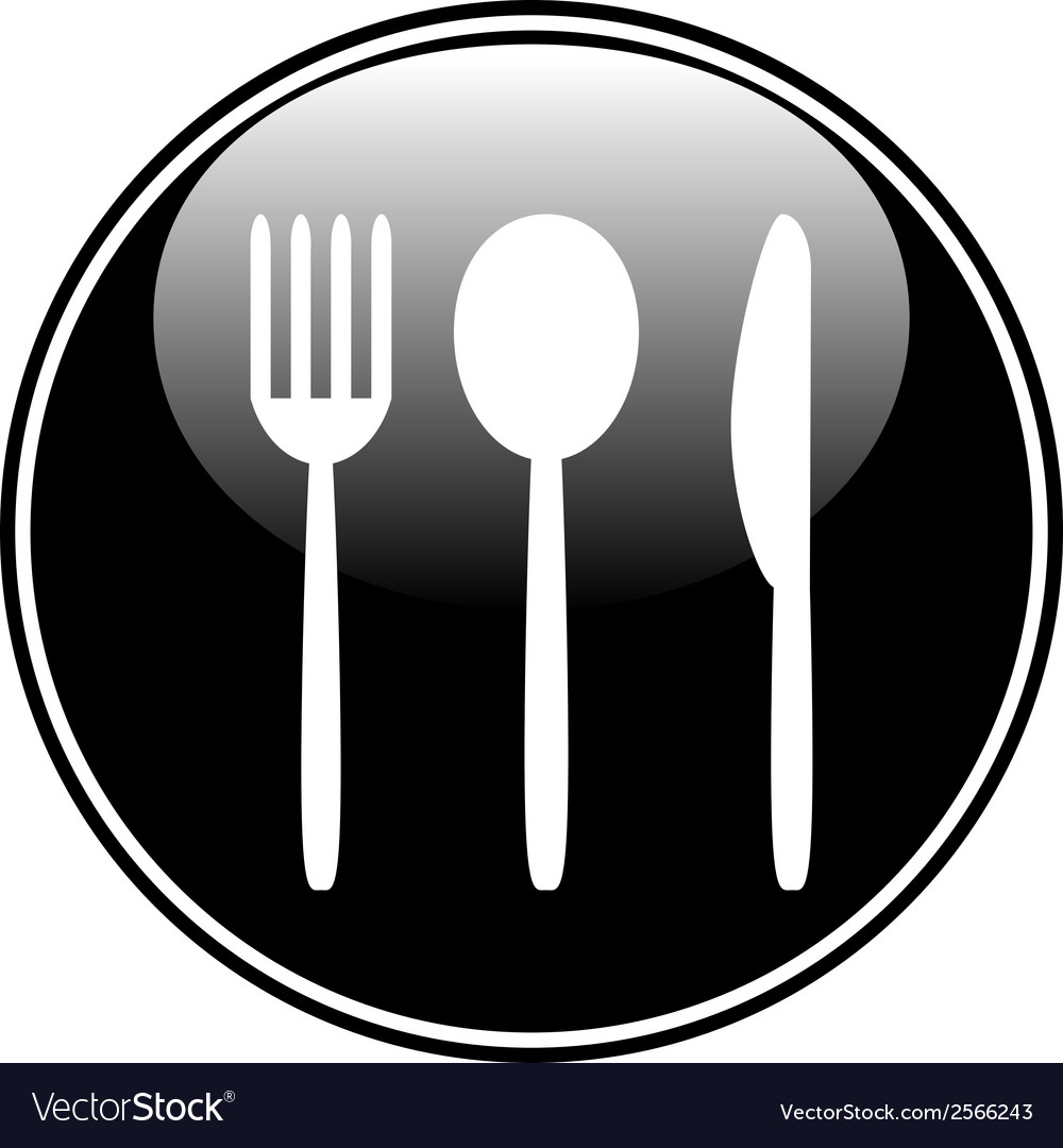 Fork spoon and knife button vector | Price: 1 Credit (USD $1)