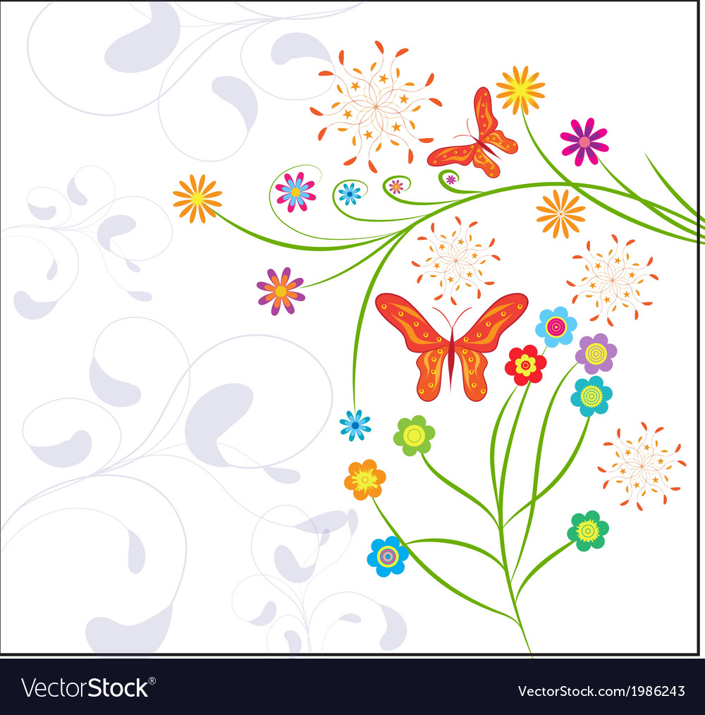 Funny background with butterflies vector | Price: 1 Credit (USD $1)
